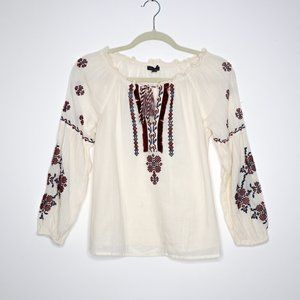 American Eagle | Floral Embroidered Boat Neck XS